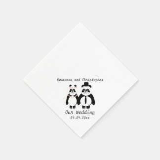 Panda Black And White Wedding Paper Napkin