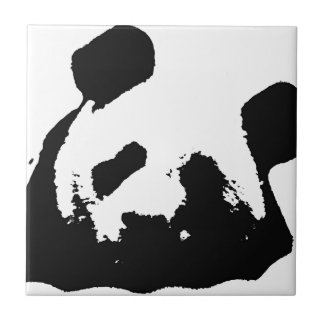 Panda blanca negra del arte pop azulejo cuadrado pequeño