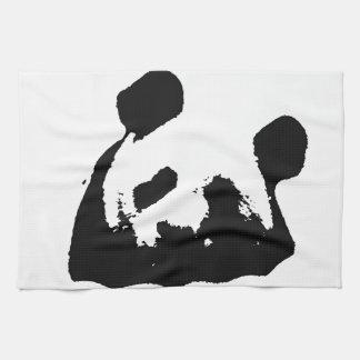 Panda blanca negra del arte pop toallas de cocina