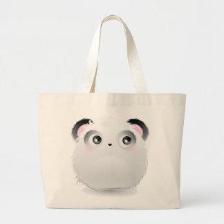 Panda blanca peluda mullida linda del dibujo anima bolsa tela grande