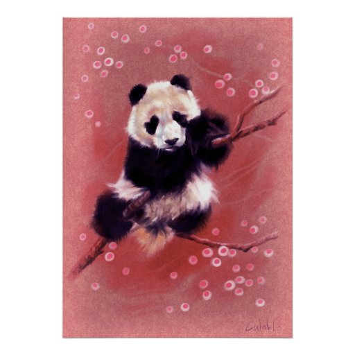 Panda Blossom Poster