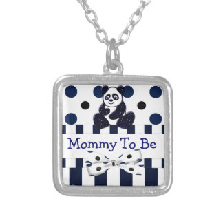 Panda Blue Glitter Dots & Stripes Baby Shower Silver Plated Necklace
