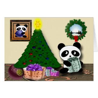 Panda bowling greetings card