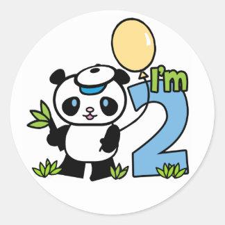 Panda Boy 2nd Birthday Classic Round Sticker