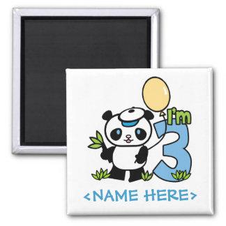 Panda Boy 3rd Birthday 2 Inch Square Magnet