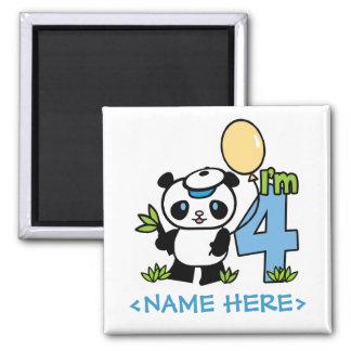 Panda Boy 4th Birthday 2 Inch Square Magnet