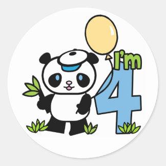Panda Boy 4th Birthday Classic Round Sticker