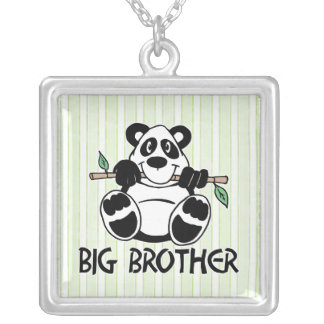 Panda Boy Big Brother Square Pendant Necklace