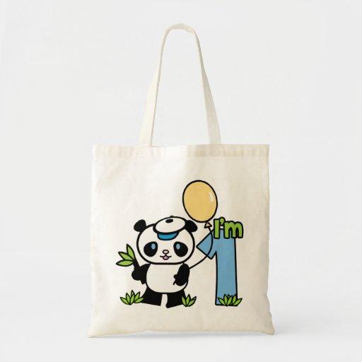 Panda Boy First Birthday Budget Tote Bag