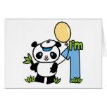 Panda Boy First Birthday Invitations Greeting Card