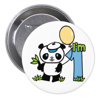 Panda Boy First Birthday Pinback Button