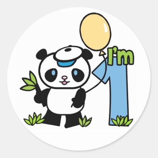 Panda Boy First Birthday Stickers