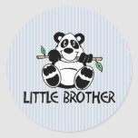 Panda Boy Little Brother Round Stickers