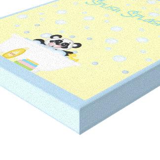 Panda Bubble Bath Time Nursery Yellow Baby Blue Canvas Print