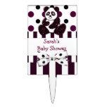 Panda Burgundy Glitter Dots & Stripes Baby Shower Cake Topper