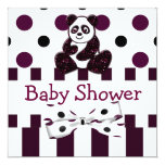 "Panda Burgundy Glitter Dots & Stripes Baby Shower 5.25"" Square Invitation Card"