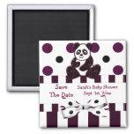 Panda Burgundy Glitter Dots & Stripes Baby Shower Magnets