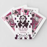 Panda Burgundy Glitter Dots & Stripes Baby Shower Deck Of Cards