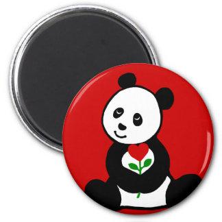 Panda Cartoon and A Heart Flower 2 Inch Round Magnet