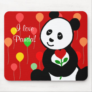 Panda Cartoon and A Heart Flower Balloons Mouse Pad
