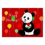 Panda Cartoon and A Heart Flower Birthday Greeting Card