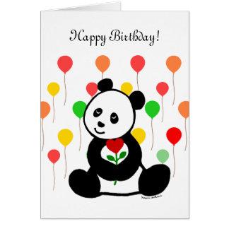 Panda Cartoon and A Heart Flower Birthday Greeting Card