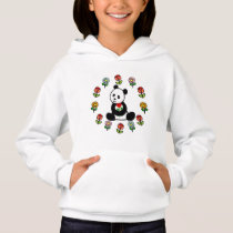 Panda Cartoon and A Heart Flower Hoodie