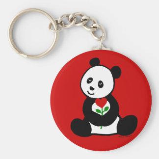 Panda Cartoon and A Heart Flower Keychain