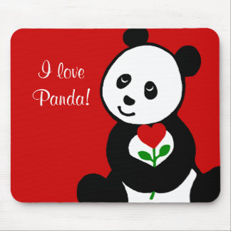Panda Cartoon and A Heart Flower Mouse Pad