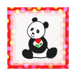 Panda Cartoon and A Heart Flower Polka Dot Stretched Canvas Print