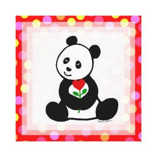 Panda Cartoon and A Heart Flower Polka Dot Canvas Print