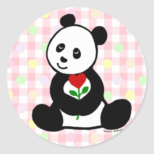 Panda Cartoon and A Heart Flower Round Stickers
