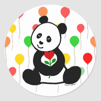 Panda Cartoon and A Heart Flower Round Stickers