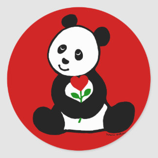 Panda Cartoon and A Heart Flower Sticker