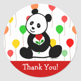 Panda Cartoon and A Heart Flower Thank You Classic Round Sticker