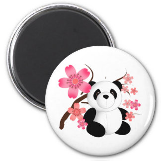 Panda Cherry Blossoms 2 Inch Round Magnet