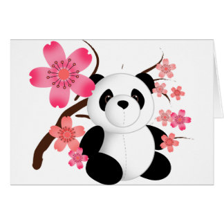 Panda Cherry Blossoms Card