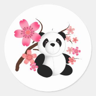 Panda Cherry Blossoms Classic Round Sticker