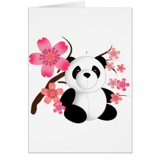 Panda Cherry Blossoms Greeting Card