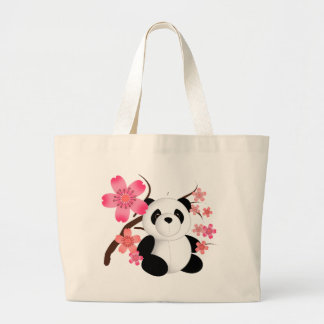Panda Cherry Blossoms Large Tote Bag