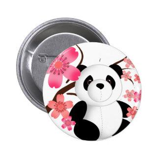 Panda Cherry Blossoms Pinback Buttons