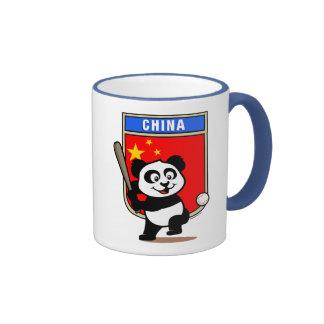 Panda china del béisbol tazas de café