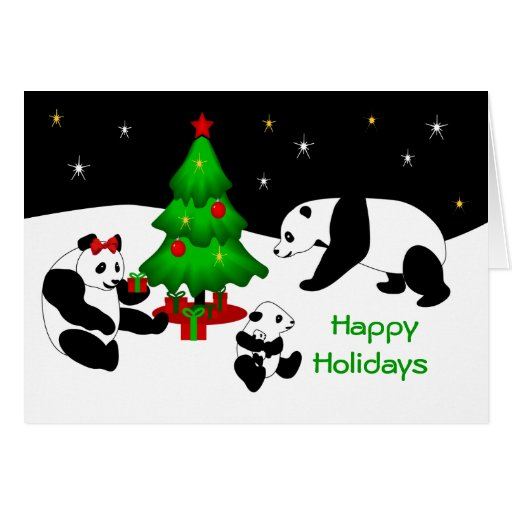 panda christmas greeting card zazzle. Black Bedroom Furniture Sets. Home Design Ideas