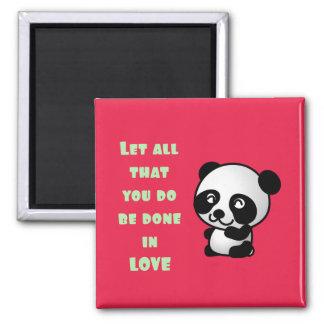 Panda con cita inspirada del amor imán cuadrado