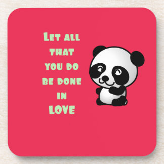 Panda con cita inspirada del amor posavaso