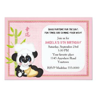"""Panda con cumpleaños de la galleta de la suerte invitación 5"""" x 7"""""""