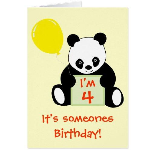 Panda con edad conocida adaptable y más del impuls tarjeta de felicitación