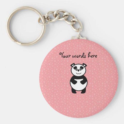 Panda con el fondo rosado de la pata llavero personalizado
