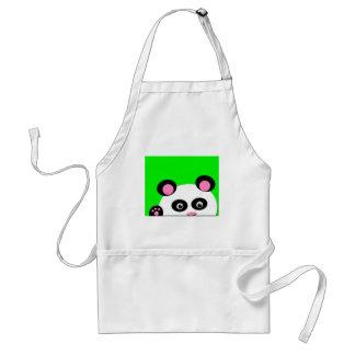 Panda con el fondo verde delantal