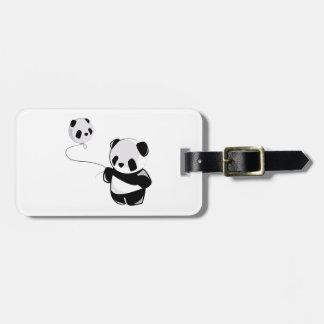 Panda con el globo etiquetas de equipaje